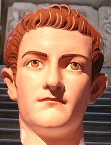 A marble bust of Caligula restored to its original colours. The colours were identified from particles trapped in the marble.